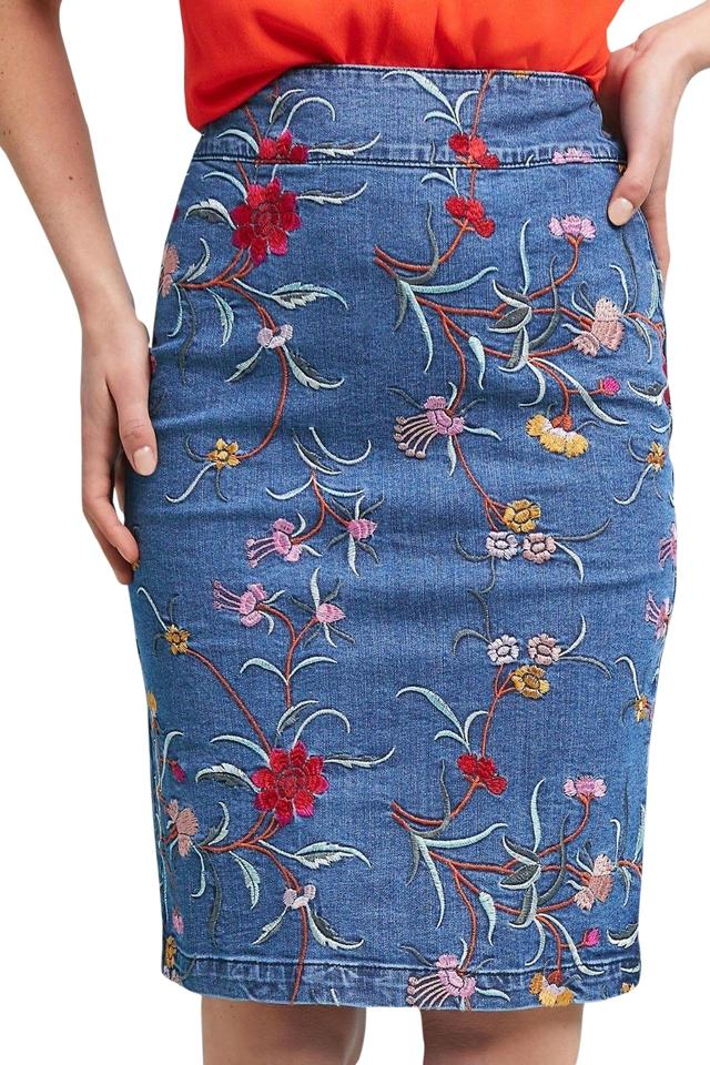ad9f826eb783 Anthropologie Multicolor Embroidered Denim Pencil By Maeve Skirt ...