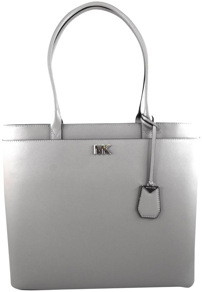 be3816c7fe49 Michael Kors Maddie Tech Friendly Large Ns Pearl Grey Leather Tote ...