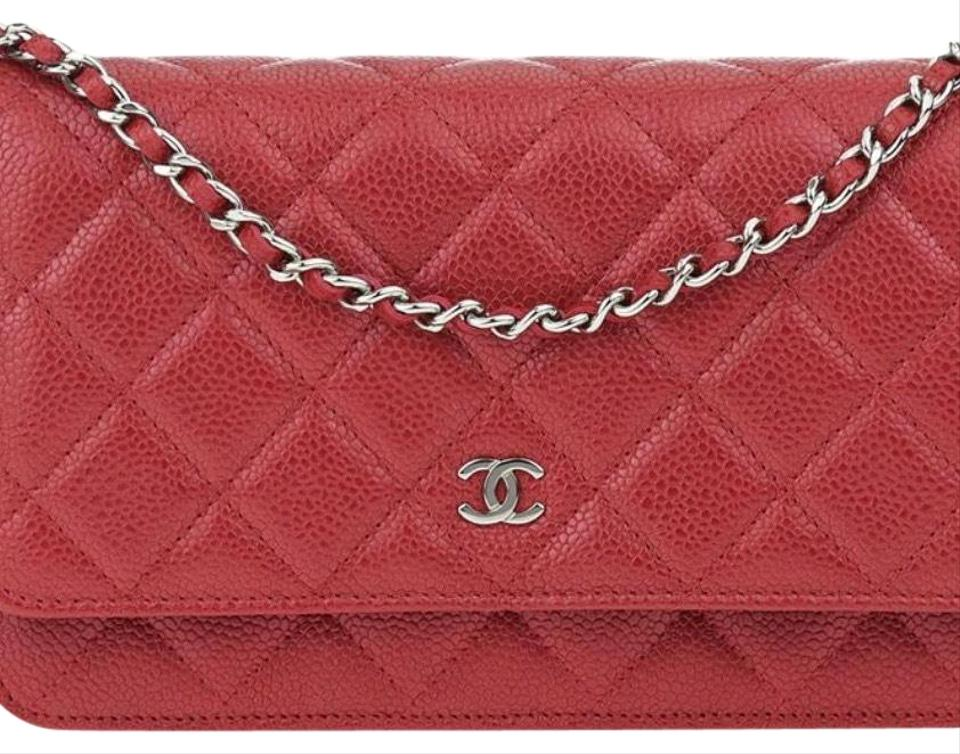 b1d1f5b78ee4 Chanel Wallet on Chain Red Caviar Leather Cross Body Bag - Tradesy