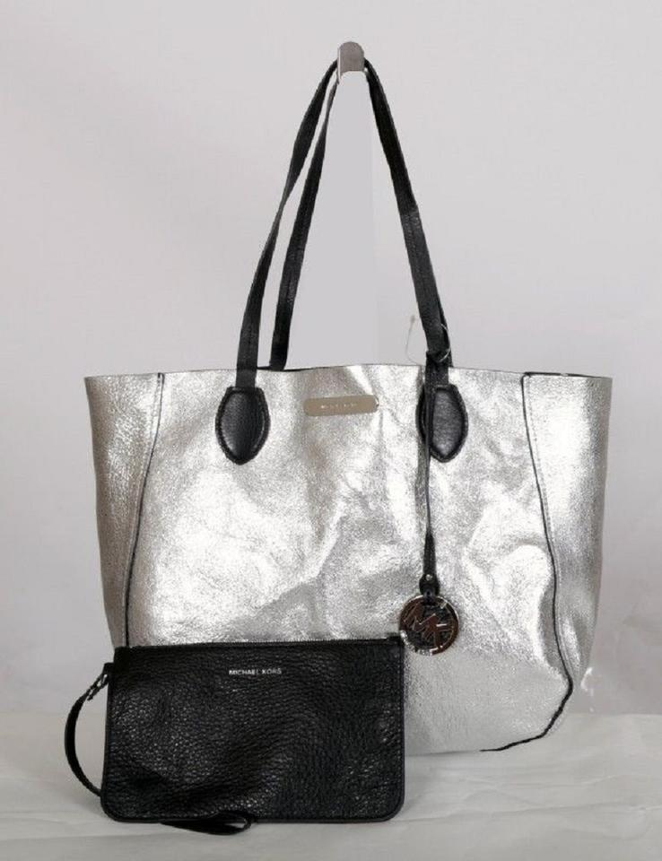 Michael Kors Reversible East West Mae Large BlackSilver Leather Tote 42% off retail