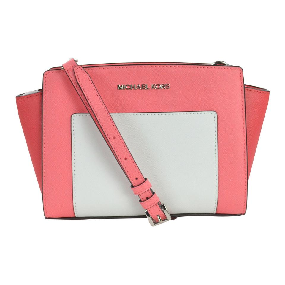 b470b873c81f Michael Kors Color Selma Medium Coral/Watermelon/White Leather Messenger Bag