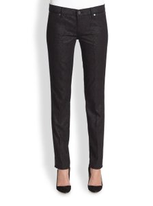Tory Burch Floral Denim Stretchy Skinny Jeans-Dark Rinse