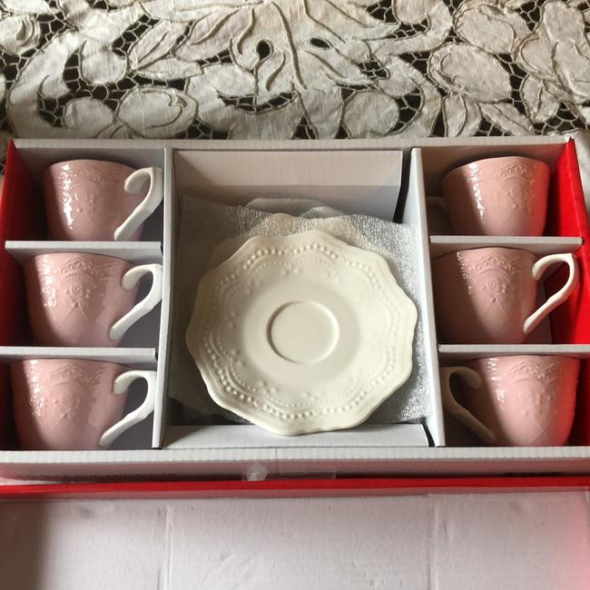 Item - Baby Pink with White Coffees Cups Fine China