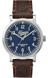 Timex TW2P96600 Men's Brown Leather Band With Blue Analog Dial Watch NWT