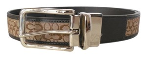 "Coach Coach Signature Men's Reversible Khaki Mahogany Jacquard Leather 38"" Belt, NWT 90107 ($148)"
