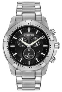Citizen AT2260-53E Men Silver Steel Bracelet With Black Dial Analog Watch NWT