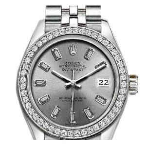 Rolex Ladies 26mm Rolex Datejust with Custom Bezel and Diamond Silver Dial