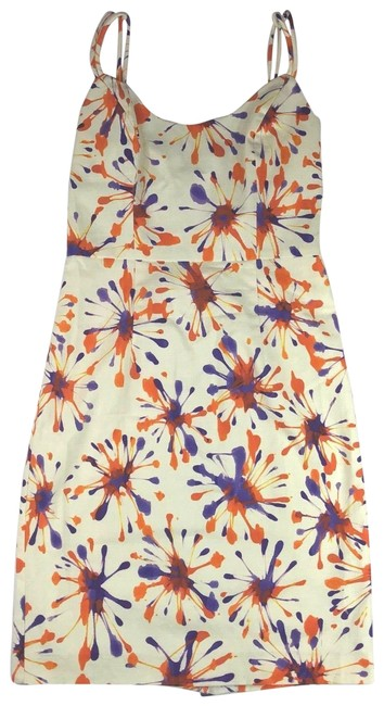 Item - Multi Color Floral Ivory Sleeveless Career Short Cocktail Dress Size 2 (XS)