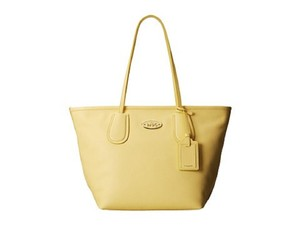 Coach Leather Handbag Tote in Pale Yellow