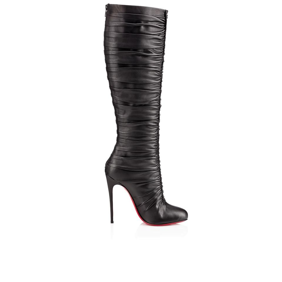ffb656de6d1 Christian Louboutin Black New Vivazdine 120 Calf Leather Foulard Boots  Booties. Size  US ...