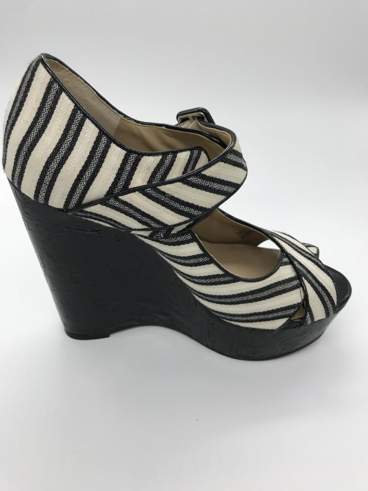 88f02a8c249 Saks Fifth Avenue Black and White Coco Mary Jane Wedges Size US 7 Regular  (M