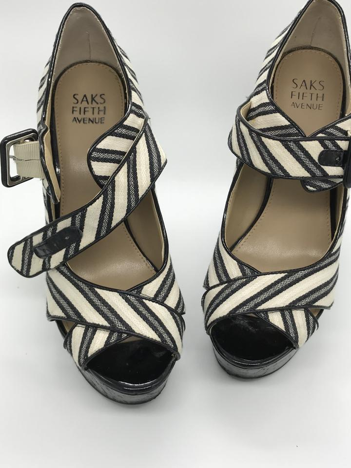 f5e8d5077ac Saks Fifth Avenue Black and White Coco Mary Jane Wedges Size US 7 ...