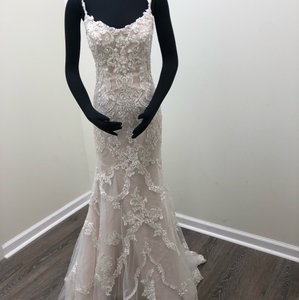 Sottero and Midgley Ivory/Champagne Tulle Lace Riley Sexy Wedding Dress Size 8 (M)