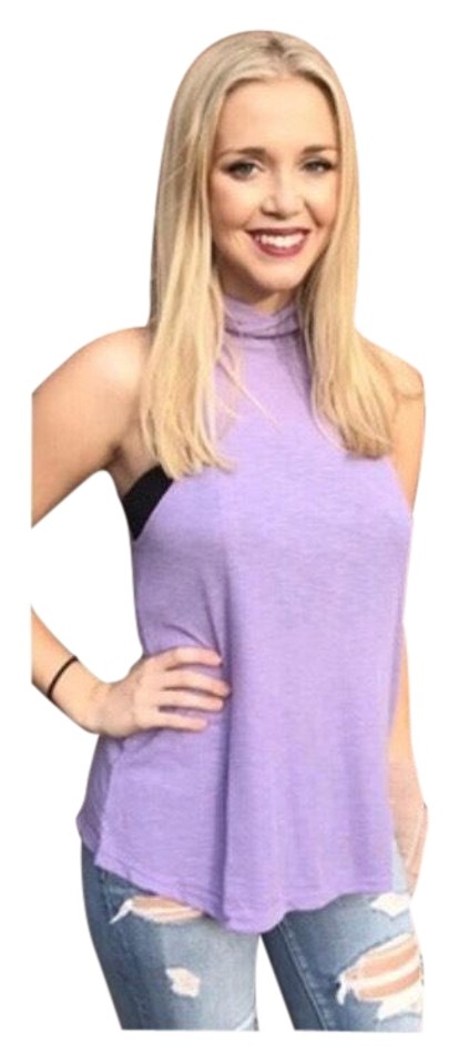 40ac9f7db52cb Free People Lavender Ribbed Knit Turtleneck Tank Top Cami Size 10 (M ...