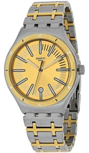 Swatch YWS410G Men's Two Tone Steel Bracelet With Gold Analog Dial Watch