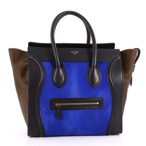 Céline Pony Hair Leather Tote in Brown and Blue