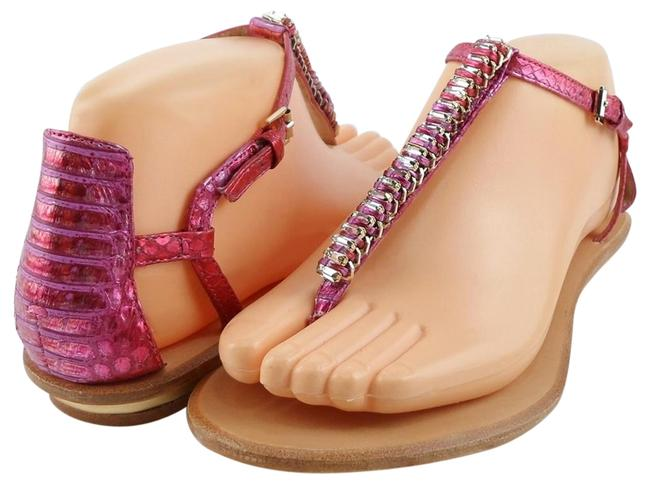 Item - Pink Carina Leather T Strap Sandals Size US 7 Regular (M, B)