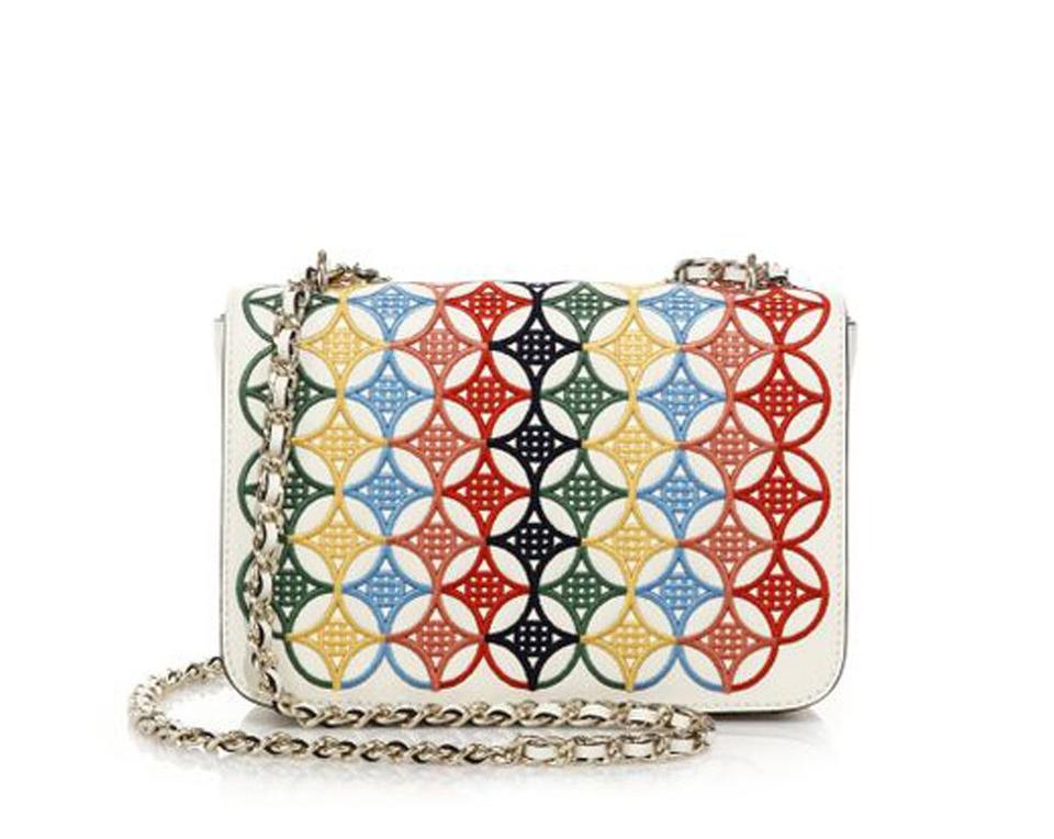 726a24b7d8ac Tory Burch Embroidered Robinson Messenger Ivory Multicolor Saffiano ...
