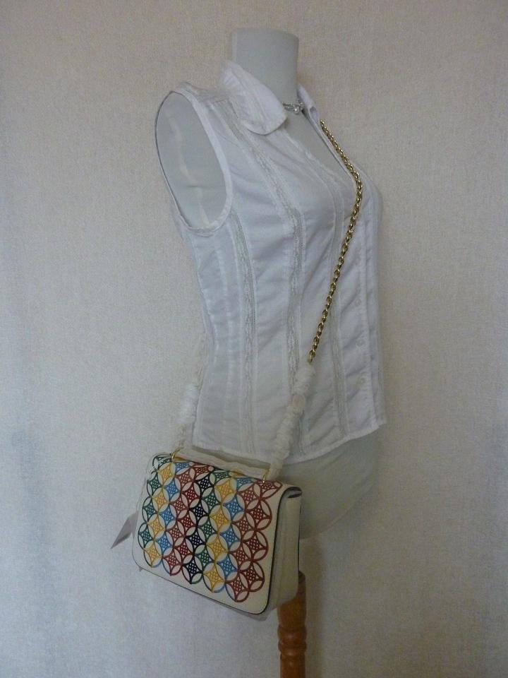 721615fc578f Tory Burch Embroidered Robinson Messenger Ivory Multicolor Saffiano Leather  Cross Body Bag - Tradesy