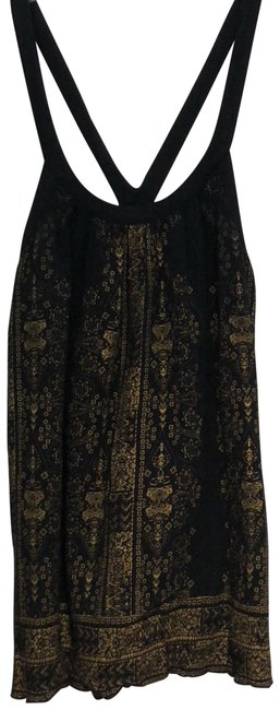 Item - Black and Gold Flowy with Print Tank Top/Cami Size 6 (S)
