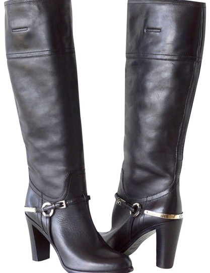 1356ac56c32 Dior Christian Knee High Black Leather with Riding Influence Boots Booties