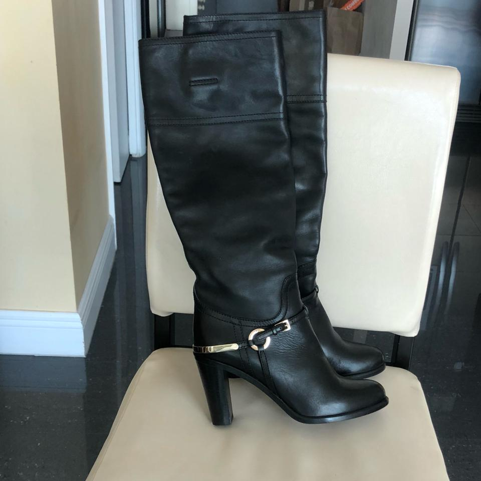 323a02e7b75 Dior Christian Knee High Black Leather with Riding Influence Boots ...