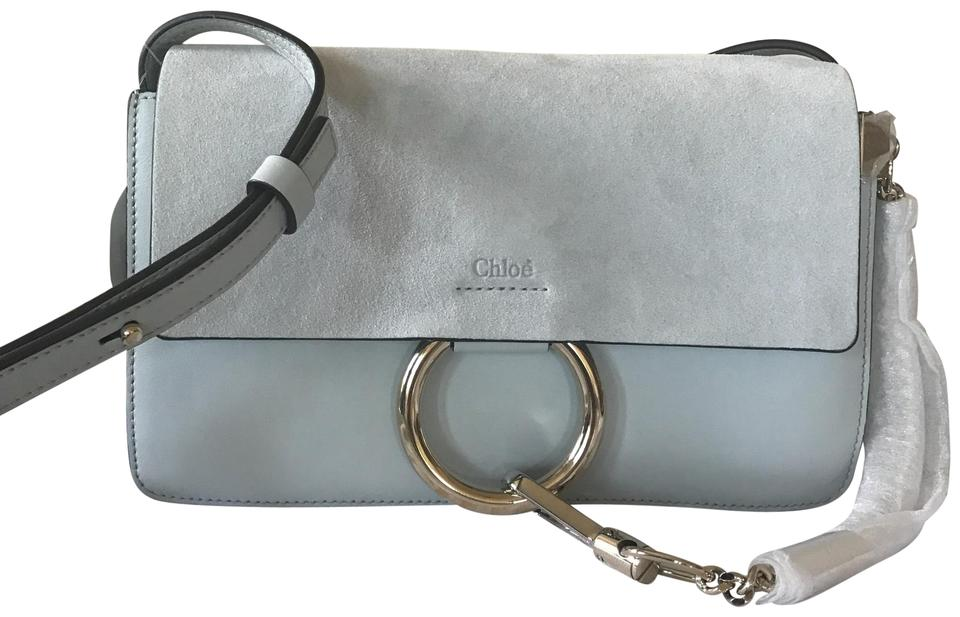 45632bab27 Chloé Faye Small Suede & Leather Airy Grey Shoulder Bag 26% off retail
