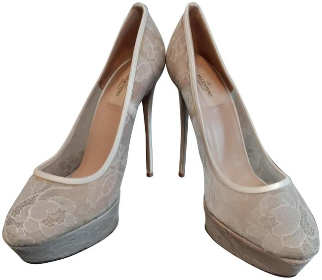 Item - White Nude Silver Made In Italy Lace Satin Pumps Platforms Size EU 40.5 (Approx. US 10.5) Regular (M, B)
