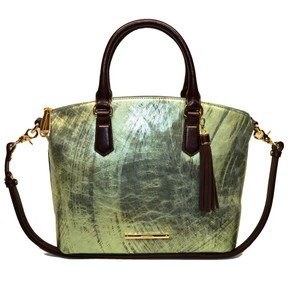 Brahmin Leather Metallic Satchel in Hunter Mayara