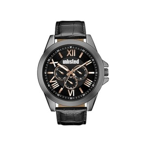 Unlisted by Kenneth Cole 10030895 Men's Black Leather Bracelet With Black Analog Dial Watch