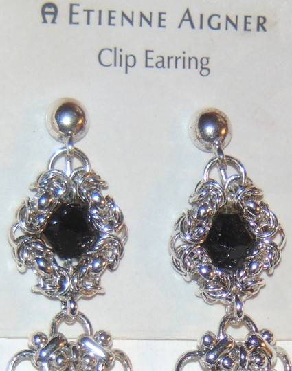 Etienne Aigner ANASTASIA Silver tone Tiered Drop Dangle Clip Earrings Image 1