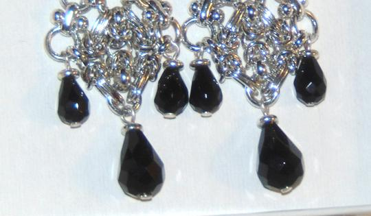 Etienne Aigner ANASTASIA Silver tone Tiered Drop Dangle Clip Earrings Image 2