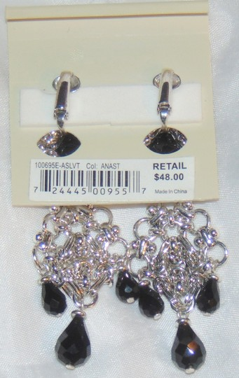 Etienne Aigner ANASTASIA Silver tone Tiered Drop Dangle Clip Earrings Image 3