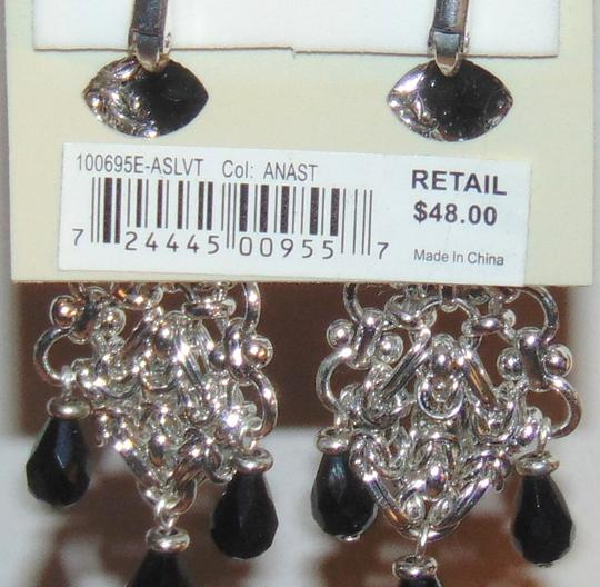 Etienne Aigner ANASTASIA Silver tone Tiered Drop Dangle Clip Earrings Image 4