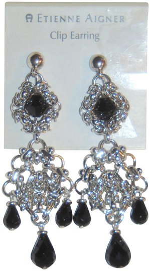 Etienne Aigner ANASTASIA Silver tone Tiered Drop Dangle Clip Earrings Image 5
