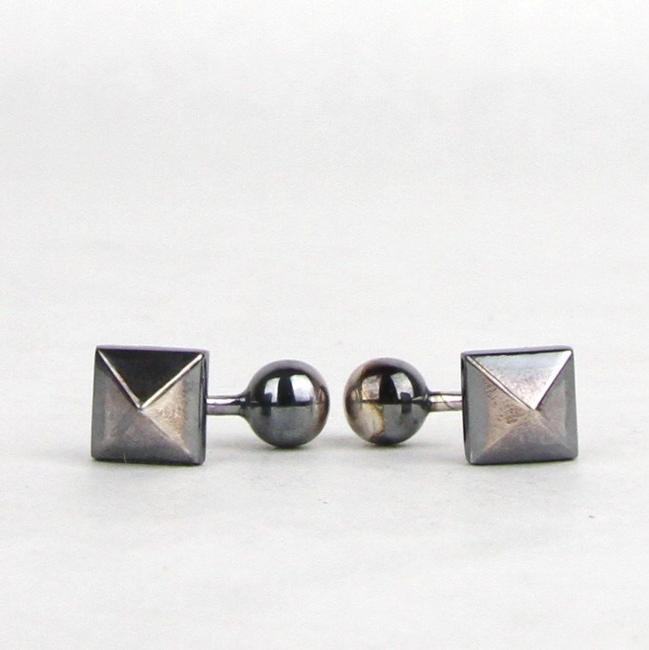 Item - Silver Men's Antique Glass Bead 301879 9800 Cufflinks/Studs