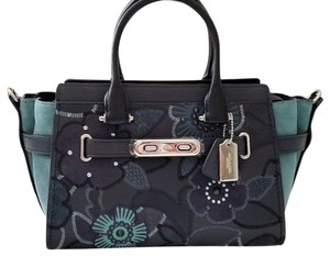 Coach Swagger Elegant Mix Leather Color-blocking 59505 Satchel in navy / black