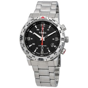 Timex T2P289 Sport Men's Silver Steel Band With Black Analog Dial Watch