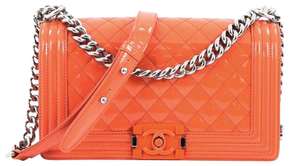 871f6500e216 Chanel Classic Flap Boy Le Medium Patent Quilted Orange Caviar Shoulder Bag