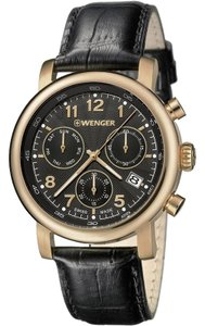 Wenger 01.1043.107 Men's Brown Leather Band With Black Analog Dial Watch