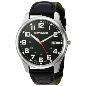 Wenger 01.1441.113 Men's Green Nylon Band With Black Analog Dial Watch