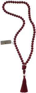 Barse Barse Genuine Stone See Bamboo Red Bead Tassel Necklace