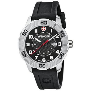 Wenger 01.0851.101 Men's Black Silicone Band With Black Analog Dial Watch