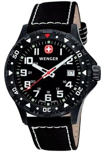Wenger 79304W Men's Black Leather Band With Black Analog Dial Genuine Watch