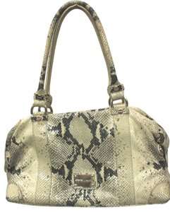 Alexis Hudson Animal Print Satchel in beige/black