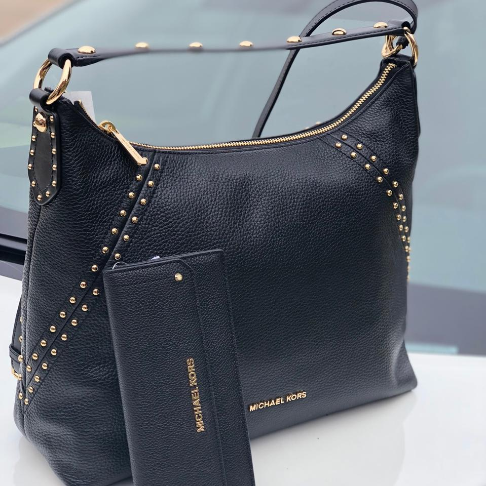 d0d56bf4771b Michael Kors Studdded Aria Medium Top In +wallet Set Black Pebble Leather  Shoulder Bag