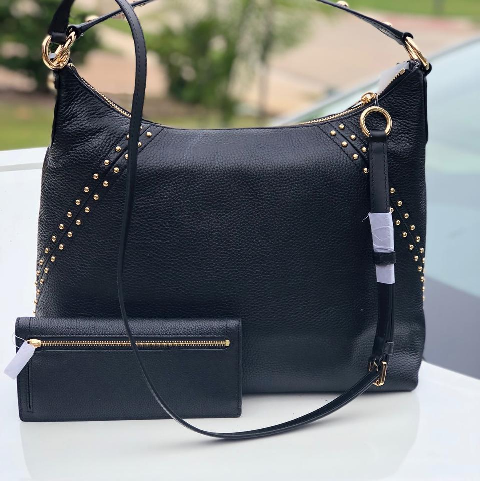 e6a147d1cd8e Michael Kors Studdded Aria Medium Top In +wallet Set Black Pebble Leather  Shoulder Bag - Tradesy