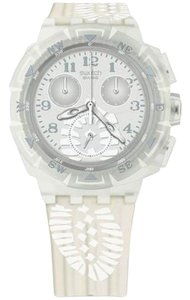 Swatch SUKK100 Men's White Rubber Band With Grey Analog Dial Genuine Watch