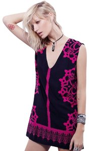 Free People short dress Pink & Black Geodesic Dunes Beaded Tunic And on Tradesy