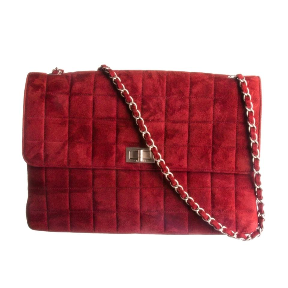 f9dcca4ebeff Chanel Mademoiselle Chocolate Bar Classic Jumbo Flap Vintage Lock Burgundy  Red Suede Leather Cross Body Bag